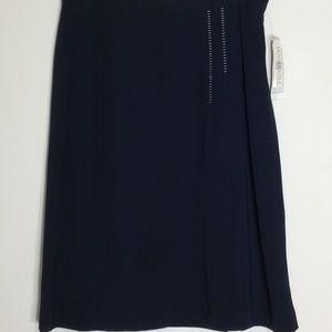 Jones Wear Navy Skirt w/White Stitching Trim
